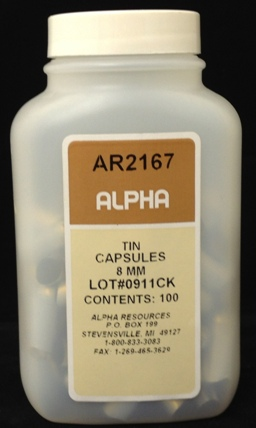 Alpha Resources Africa Product AR2167 in Tin Capsules under Sample Containment.