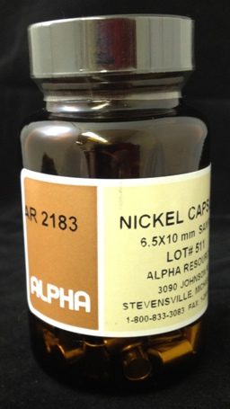 Alpha Resources Africa Product AR2183 in Nickel Capsules/Baskets under Sample Containment.