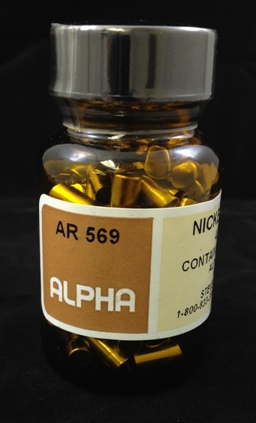 Alpha Resources Africa Product AR569 in Nickel Capsules/Baskets under Sample Containment.