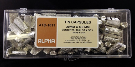 Alpha Resources Africa Product ATD1011 in Tin Capsules under Sample Containment.